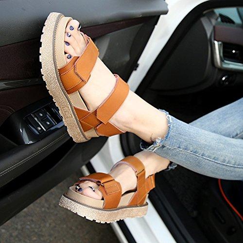 Ouvert Taille Sandales Cuir Scratch Bout Plates PU Confort wealsex Femmes Grande Plateforme Brun 43 40 0Twwq