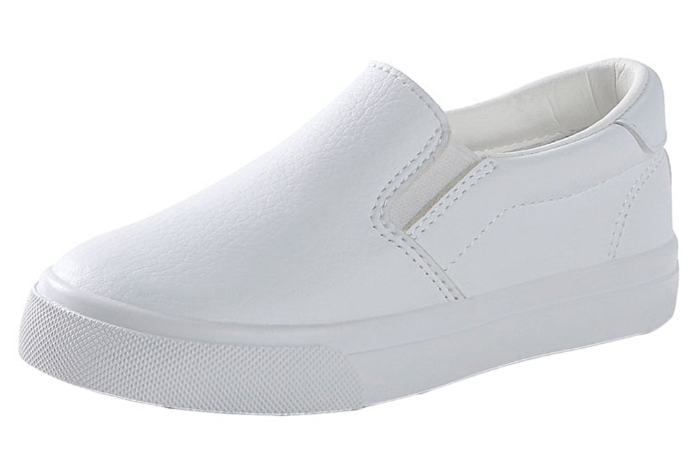 iDuoDuo Boys Girls Soft Breathable Flat Leisure Shoes Slip on Leather Flats White 2.5 M US Little Kid
