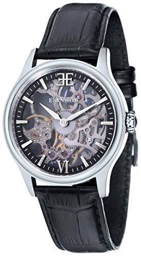 Thomas Earnshaw Mens The Bauer Shadow Skeleton Watch - Black/Silver