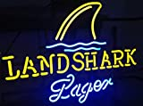 Urby™ LandShark Lager Real Glass Neon Light Sign Home Beer Bar Pub Recreation Room Game Room Windows Garage Wall Sign 18''x14'' A11-04