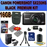 Canon PowerShot SX230HS SX230-HS 12 MP Digital Camera with HS SYSTEM and DIGIC 4 Image Processor (Black) Premium 6 GB Memory Card, Two NB5L Battery, Battery Charger, Card Reader, Carrying Case, Mini Tripod And More!!!! Review