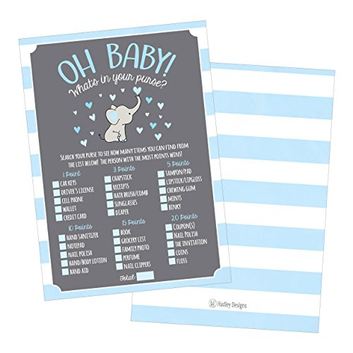 25 Blue Elephant What's In Your Purse Baby Shower Game, Funny Idea Coed Couples Game For Baby Party, Fun Woodland Themed Bundle Pack of Cards To Play at Boy Gender Kids Decorations and Supplies ()