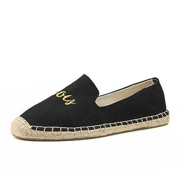 Zapatos de lona de las mujeres 2018 Nuevo Low-Top Soles de lino Señoras respirables de la muchacha Moda Mocasines planos Alpargatas (Color : Negro, ...