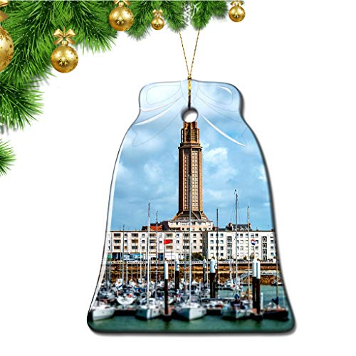 Hqiyaols Ornament France Le Havre Christmas Ornaments Bell Shape Ceramic Sheet Souvenir Travel Gift Tree Door Window Ceiling Pendant Decorative Hanging