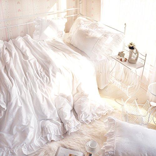 可愛いラッフルフリルデザイン ロマンチックなホワイトベッドカバーセット B011S18Y7Kシングル