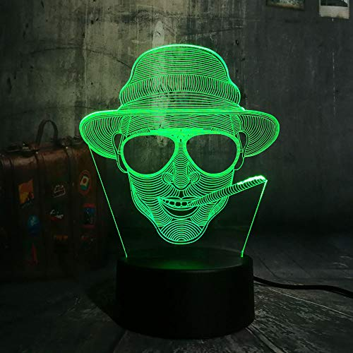 Cool Smoking Man with Glasses USB 3D Led Night Light Remote Desk Lamp Lighting for Halloween Bar Decorations Gift for Kids -