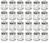 mini canning lids - PremiumVials 1.5 oz Mini Hexagon Glass Jars with Silver Plastisol Lined Lids for Jam, Honey, Wedding Favors, Shower Favors, Baby Foods, Canning, spices, (24, 1.5 oz Hex w/Silver Lids)