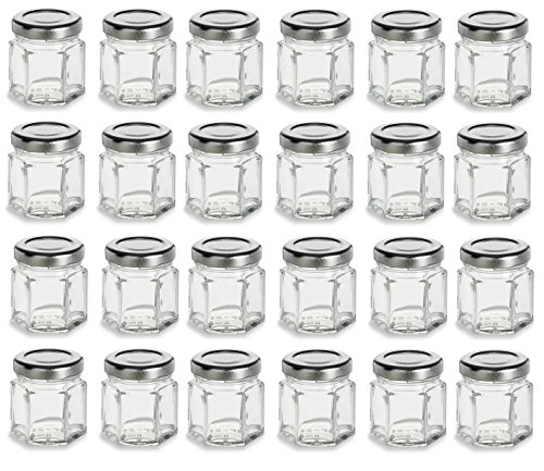 PremiumVials 1.5 oz Mini Hexagon Glass Jars with Silver Plastisol Lined Lids for Jam, Honey, Wedding Favors, Shower Favors, Baby Foods, Canning, spices, (24, 1.5 oz Hex w/Silver (Homemade Baby Shower Favors)