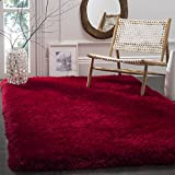 Safavieh Luxe Shag Collection SGX160E Handmade Red Polyester Area Rug (3′ x 5′) For Sale