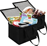 2 Pack Collapsible Coolers 11 x 8 x 9 | Hot & Cold Food Delivery Tote Bags | Perfect Mens Lunch Box or Adult Lunch Bag | Ideal as a Travel, Beach, Camping Cooler or Portable Small Cooler Bag.