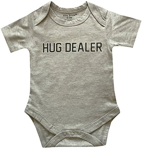 Silly Souls, Inc Hug Dealer, Cool Newborn Baby Boys Short Sleeve Cotton Onesie, Grey 18-24 Months