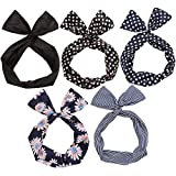 Twist Bow Wired Headbands Scarf Wrap Hair Accessory Hairband by Sea Team (5 Packs) (Multicolored)