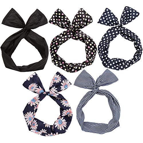 Twist Bow Wired Headbands Scarf Wrap Hair Accessory Hairband by Sea Team (5 Packs) (Multicolored) -