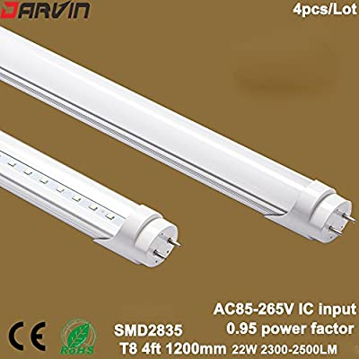 T8 Led Tube 4ft 120cm Led Light Lamp 22W Led Bulbs Fluorescent Light AC85-265V Super Bright 3 years Warranty 4pcs/Lot (Nature White 4000-4500K, Clear Cover)