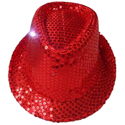 eYourlife2012 Christmas Nightclub Hip-Hop Hat With 6 LED Light Sequins Fedoras (Red)