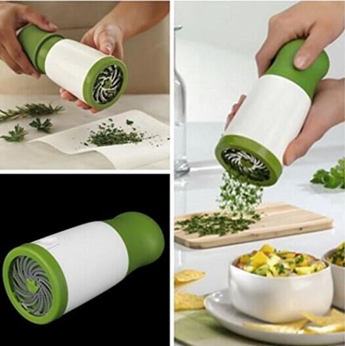(Drhob 1 pc Herb Mill Chopper Cutter Mince Stainless Steel Blades Safely New ( Color: White & Green))
