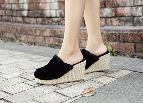 cálido DANDANJIE de Aliento de Negro Zapatillas Sexy Zapatos Libre Moda Mujer Zapatillas y de Gris Beige de al cuña Negro Zapatillas Zapatos de Primavera caseros Zapatillas Aire xrTxafw