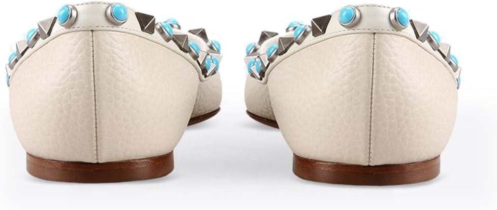 GONGFF Flat Tip Rivet Shoes Women Ballet Shoes Pump Sandals