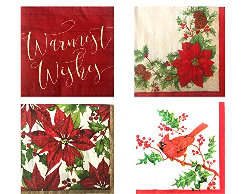 Christmas Holiday Red and Green Disposable Luncheon Napkins Party Supply Bundle - 4 Styles - 72 Napkins Total ()