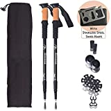 Walkly Trekking-Pole Lightweight Collapsible and Adjustable Walking-Sticks for Sports Outdoor Camping and Ski Suitable for Men and Women (2 Packs)