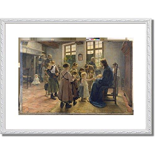 フリッツフォンウーデ Uhde, Fritz von「Let the Children Come to Me. 1884」インテリア アート 絵画 プリント 額装作品 フレーム:装飾(白) サイズ:L (412mm X 527mm) B00OGRZZZI 3.L (412mm x 527mm)|6. フレーム:装飾(白) 6. フレーム:装飾(白) 3.L (412mm x 527mm)