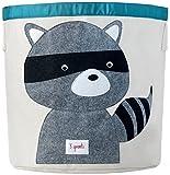 Sunuo Cartoon Animal Theme Storage Bin Organic Cotton Canvas Hanging Barrel Folding Clothes Basket Children Toys Storage Bag (Raccoon)