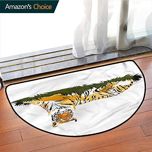 DESPKONMATS Africa Anti Slip Semi-Circular Mats, Stripped Animal Watercolors Indoor Floor Area Mat, Phthalate Free, Rugs for Office Stand Up Desk, Half Circle-W39.4 x R23.6 INCH