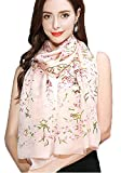 Women's Silk Scarf - Floral Print Soft Luxurious Large Shawl Neck Head Hair Wrap Neckerchief Flower Design