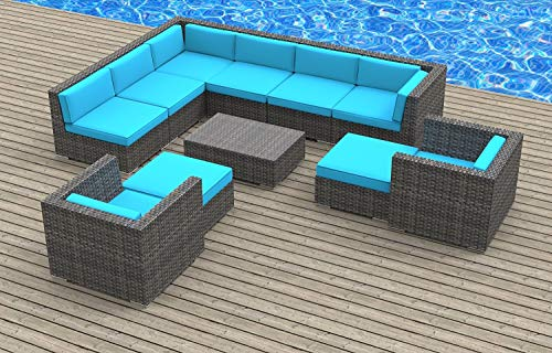 UrbanFurnishing.net Aruba Patio Furniture, 11-Piece Sea Blue ()