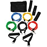 OUTERDO Resistance Bands Set ,PC Latex Resistance Bands Set for Yoga Workout Fitness With Door Anchor, Ankle Strap,Exercise Chart,Foam handles,Travel Pouch