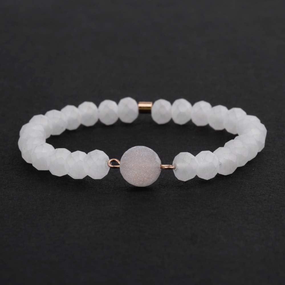 ZMMZYY Pulsera Piedra,Boho Natural de Cuarzo Blanco Pulsera Piedra facetada de Moda para la Mujer Elástica Pequeña Cristal Accesorios