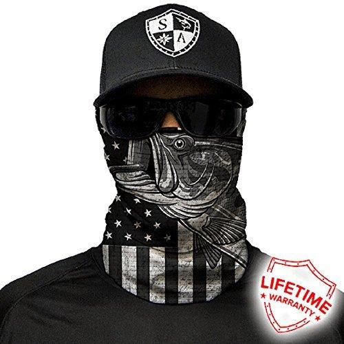 Salt Armour Face Mask Shield Protective Balaclava Bandana Microfiber Tube Neck Warmer (Blackout USA Bass)