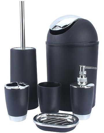 Conjunto de accesorios de baño, 6 piezas: papelera, jabonera, vaso