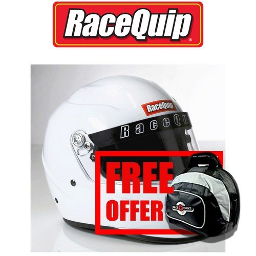 RaceQuip 273116 Gloss White X-Large PRO15 Full Face Helmet (Snell SA-2015 Rated) - Free Deluxe Helmet Bag Included ()