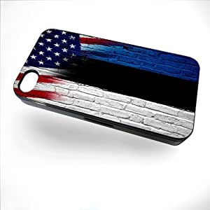 Case for iPhone 4/4S with Flag of Estonia and USA - Bricks