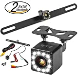 #5: Car Backup Camera - Rear View Camera 12 LEDs 170° Viewing Angle Best for Trucks & Cars - Two Install Method - License Plate Back up Car Camera Or Bracket Mount Reverse Camera