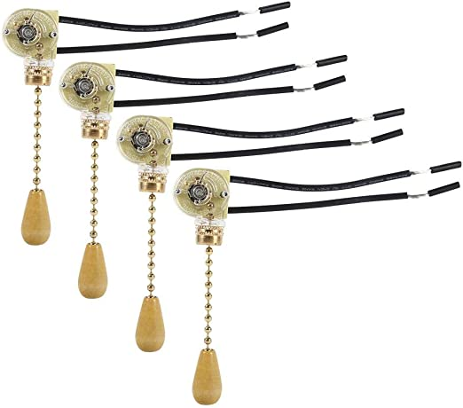 Acogedor Interruptor de luz de tiro, 4 Unids Hogar Lámpara de ventilador de techo Lámpara de pared Reemplazo Tirar del cable de la cadena Interruptor 250V 125V: Amazon.es: Bricolaje y herramientas
