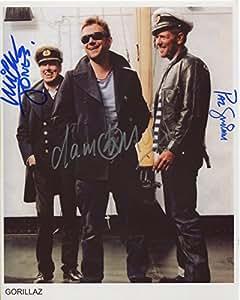 El Gorillaz Damon Albarn, Mick Jones, Paul Simonon 20,32 cm x 25,4 cm Panodia cestificado + firmé de autentificación 100% arranview