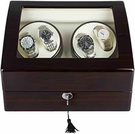 Excelvan Mens Luxury Wood Watch Winder Leather Storage Display Box Automatic Rotation Jewelry Case Organizer