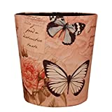 Trash Can, Peleustech without Lid European Style Retro PU Leather Wastebasket Paper Basket Trash Can Dustbin Garbage Bin - Butterfly and Rose Pattern