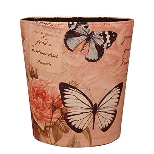 Wastebasket, WOLFBUSH European Style Retro PU Leather Wastebasket Paper Basket Trash Can Dustbin Garbage Bin without Lid - Butterfly and Rose Pattern
