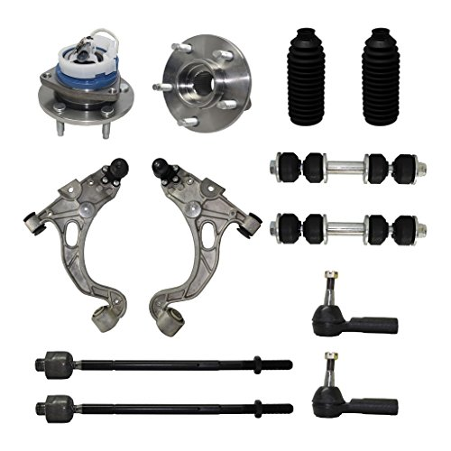 Detroit Axle - New Complete 12-Piece Front Suspension Kit - 10-Year Warranty- 2 Front Wheel Hub Bearings, 2 Lower Control Arm & Ball Joint, 4 Inner & Outer Tie Rods, 2 Sway Bar, 2 Tie Rod Boots…