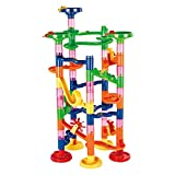 DYNWAVE Marble Run Toy, 74Pcs Educational Construction Maze Block Toy Set with Glass Marbles, Children Hand-Eye Coordination
