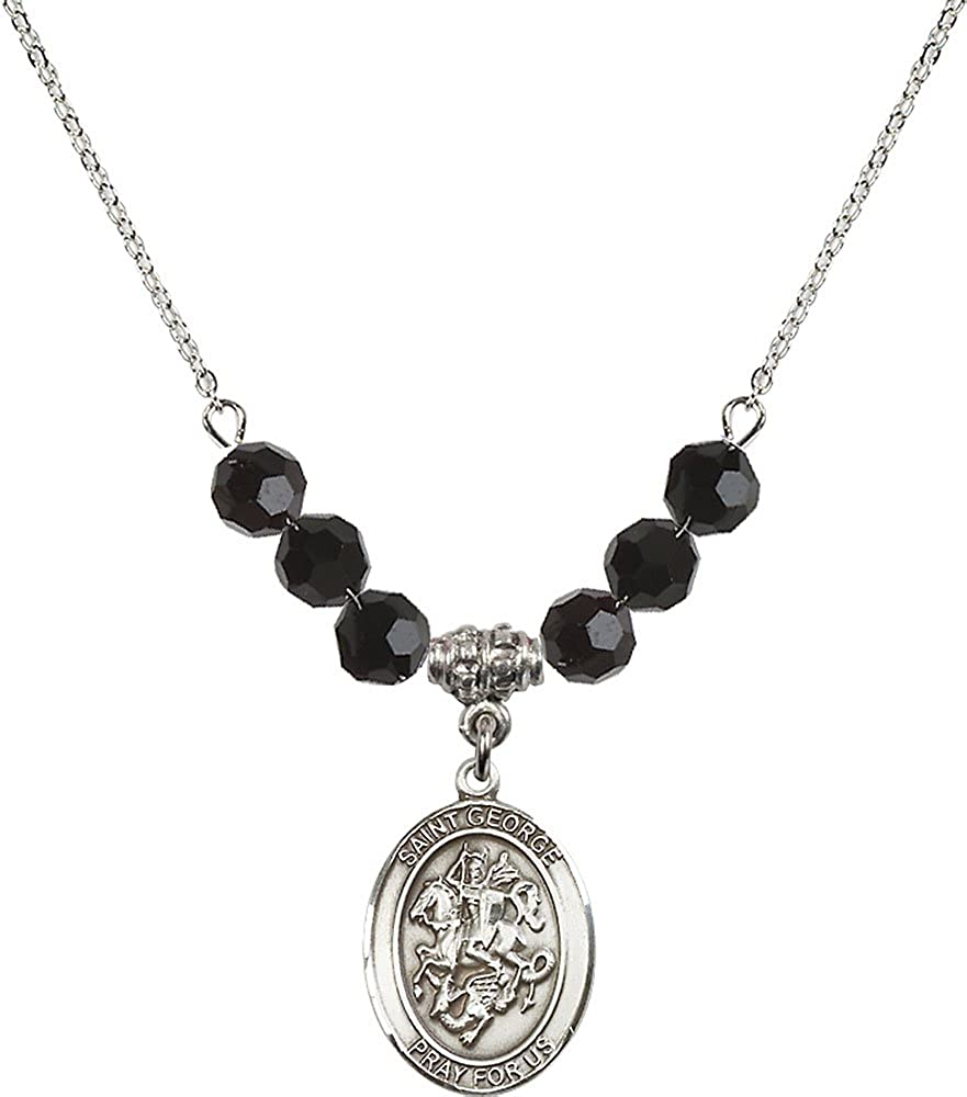 18-Inch Rhodium Plated Necklace with 6mm Jet Birthstone Beads and Sterling Silver Saint George Charm.