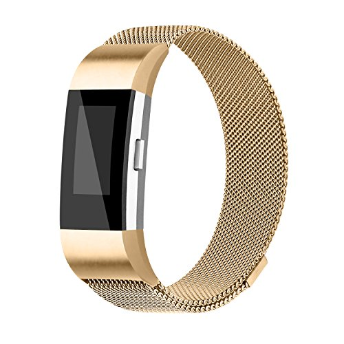 For Fitbit Charge 2 Bands, Charge 2 Milanese Loop Stainless Steel Metal Bracelet with Unique Magnet Clasp Replacement Bands for Fitbit Charge 2 Gold Smalll - Mens Watches With Metal Mesh Band