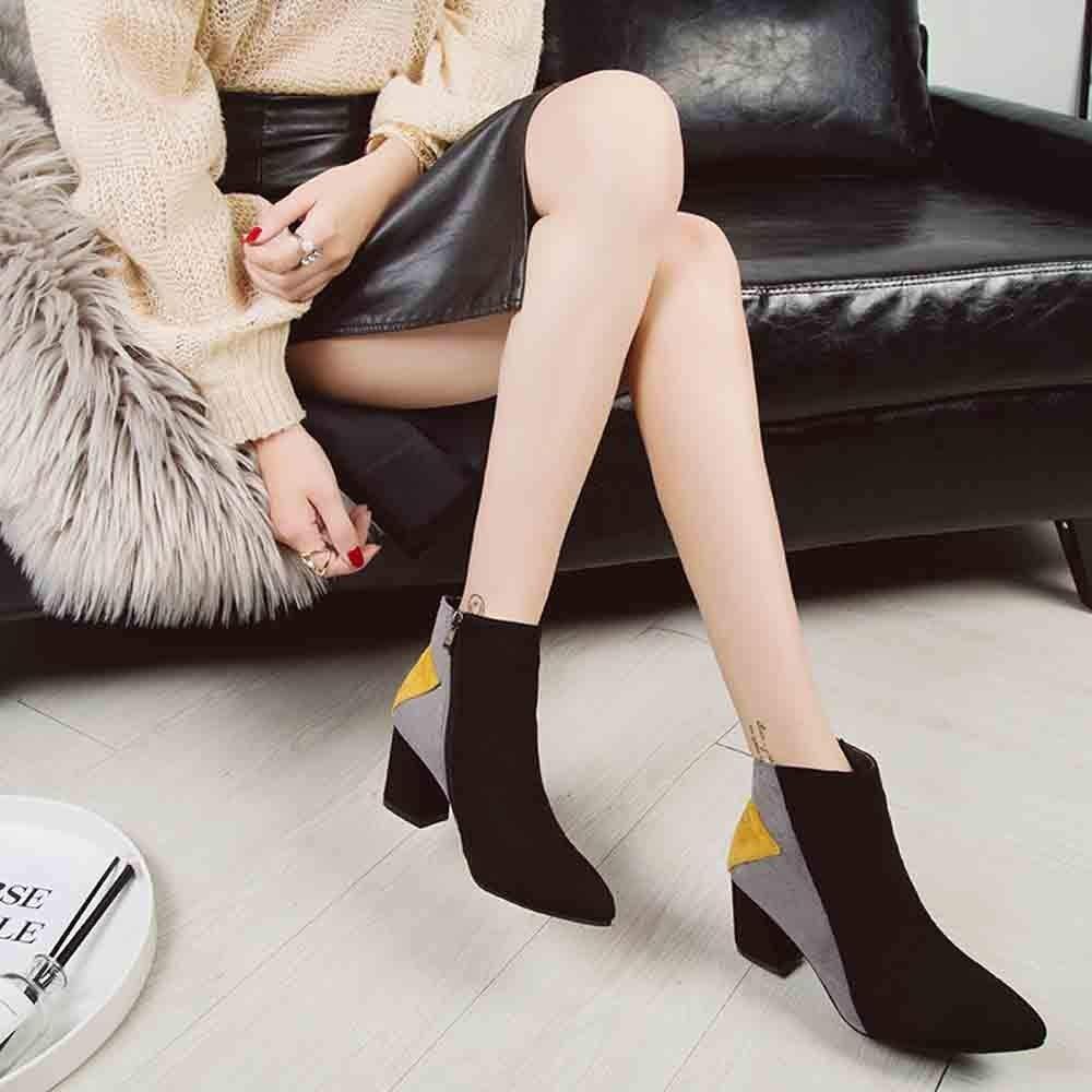 bdb48e2659e9f9 Kaiki Hiver Boots,Vintage Angleterre Femmes Bottes Couleurs mélangées  Bottines Plus Bottes de Velours à Talons ...