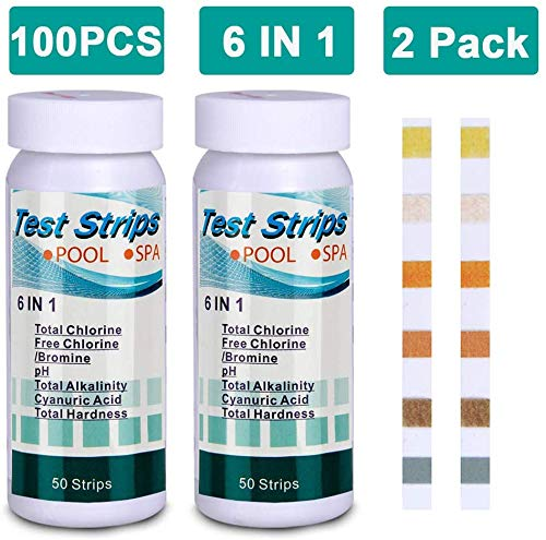 Pool and Spa Test Strips for Hot Tubs,6-Way Swimming Pool&Spa Water Chemistry Test Strip 100 Count(2 Pack).PH,Total Chlorine,Free Chlorine/Bromine,Total Alkalinity,Cyanuric Acid,Total Hardness Testing