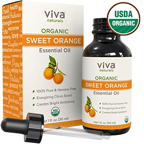 Viva Naturals Organic Orange Essential Oil, Great for DIYs, Soap Scents, Body Oils, Diffusers, etc (1 oz)