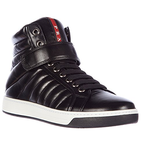 Prada Men's Shoes high top Leather Trainers Sneakers Nappa Sport Black cheap sale shop for pick a best online yQFYGa