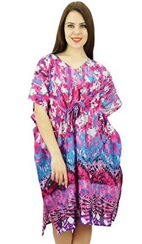 Phagun Drucken Knie Lange Kaftan Bohemian Baumwolle Kaftan Kleidung Nachtwäsche Kleid Mehrfarben